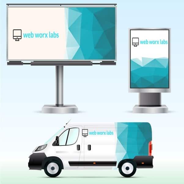Billboard advertising - webworxlabs mockup of billboards at work when showing types of advertising