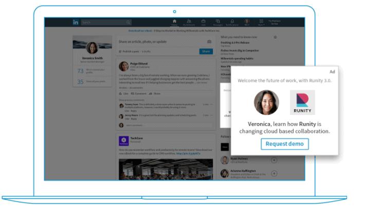 LinkedIn Social Media Advertising Example - For Types of Advertising